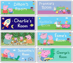 peppa pig personalised bedroom door plaque sign any name