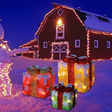 lighted gift boxes christmas decorations set of 3 lighted gift box for christmas and