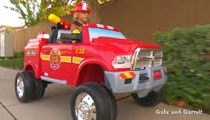 Dodge Truck Ram 3500 - kids fire truck unboxing and review dodge ram 3500 ride on fire