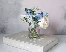 Flowers Glass Vase Faux Flowers Etsy