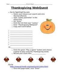 thanksgiving webquest printable booklet computer lab social