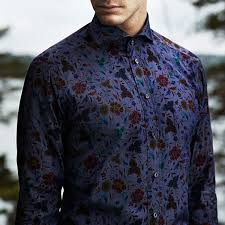 eton indigo floral print shirt in slim fit 01517661729