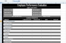 employee performance evaluation form xls free excel spreadsheets
