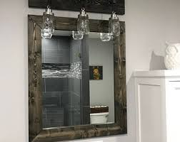 Black Mirror Bathroom Walnut Farmhouse Mirror Country Framed Mirror Wood