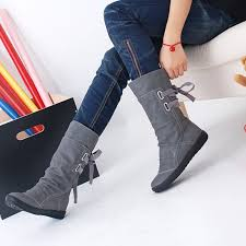 womens calf boots sale sale high quality suede leather shoes lace up mid calf