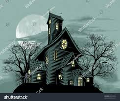 halloween scene illustration spooky haunted ghost stock vector