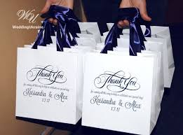 ribbon with names 30 wedding welcome bags with navy blue satin ribbon names thank