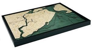 Map Staten Island Custom Wood Charts Of Staten Island From Carved Lake Art Nautical