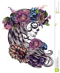 sugar skull in flower crown stock illustration illustration