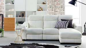 Sofas With Chaise Lounge by City 2 Seater Leather Lounge U0026 Chaise With Electric Reclining