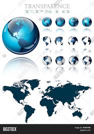 Earth Globe Map World by 3d World Map Over The Earth Globe 4 Different Views Vector