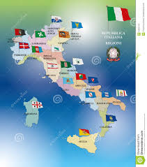 Map Italy by Italian Regional Flags And Map Italy Stock Illustration Image