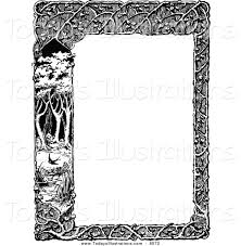 clipart of a vintage black and white woodland trellis and tree