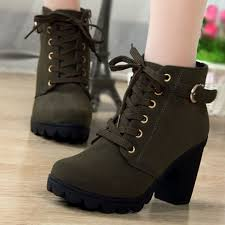 high top motorcycle boots women high top heel lace up buckle ankle boots winter pumps