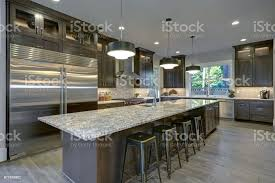 brown kitchen cabinets with backsplash modern kitchen with brown kitchen cabinets stock photo image now