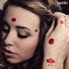 temporary tattoo love small red rose makeup hand face tattoo