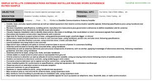 Cable Installer Resume Sample by Satellite Communications Antenna Installer Resume Sample
