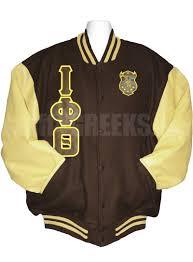 iota phi theta striped varsity letterman jacket with greek letters