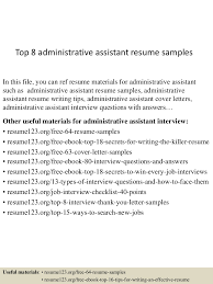 Sample Of Administrative Assistant Resume by Top8administrativeassistantresumesamples 150424021914 Conversion Gate02 Thumbnail 4 Jpg Cb U003d1429860002