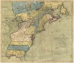 Usps First Class Shipping Time Map 1771 Early American Colonies Historic Map 24x28 Ebay