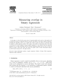 measuring overlap in logistic regression pdf download available