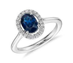 engagement ring sapphire floating oval sapphire and micropavé halo ring in