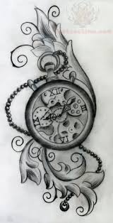 winged clock and roses tattoos sketch photos pictures and