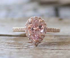 morganite pear engagement ring 1 0 ct pear cut morganite halo ring in 14k gold
