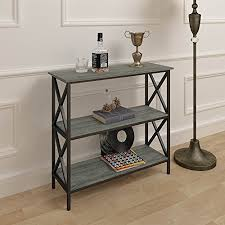 weathered grey oak finish 3 tier metal x design bookcase bookshelf