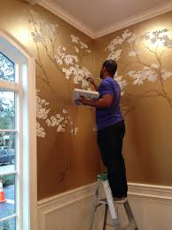 hand painted cherry blossoms on metallic gold wall pinteres hand painted cherry blossoms on metallic gold wall