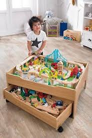 wooden train set table 120 piece wooden train set reversible city table with storage drawer