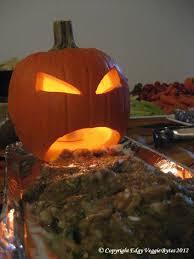 jack o lantern vomiting eggplant dip edgy veggie bytes