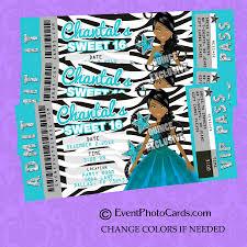Sweet 16 Invitations Cards Zebra Print Aqua Star Theme Sweet 16 Invitation