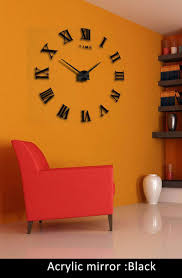 Roman Home Decor Diy Large 3d Wall Clock Mirror Sticker Metal Watches Roman Numeral