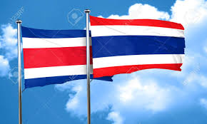 Costarica Flag Costa Rica Flag With Thailand Flag 3d Rendering Stock Photo
