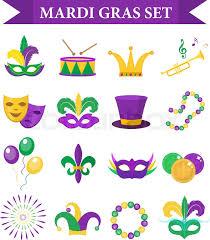 mardi gras joker mardi gras carnival set icons design element flat style