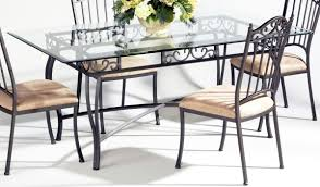 Glass Topped Dining Tables Rectangle Glass Top Dining Table Sets 14232
