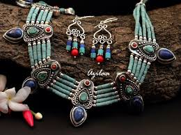 turquoise necklace earring set images Ethnic turquoise beaded gemstone handmade necklace earrings set at jpg