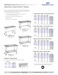 stainless steel work tables capsa solutions pdf catalogue