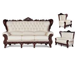 French Provincial Sofa by French Provincial Beige Leather Sofa Loveseat Chair Set 3700