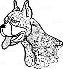 boxer dog head doodle stock vector art 547045916 istock