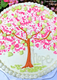 tree of hope for breast cancer awareness blog tutorial cake