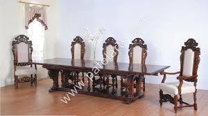 Carved Dining Table And Chairs Ethnic Style Dining Table Chair Setfreecushion Furniture Regard To