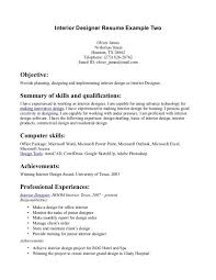 Interior Designer Resume Interior Design Resume Cover Letter Free Resume Example And With