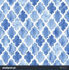 seamless blue watercolor moroccan pattern background stock vector