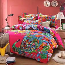 yoyomall 100 sanded cotton elegant peacock sheet sets boho style