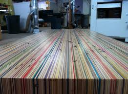 coffee table made out of skateboard decks made by jake mendez