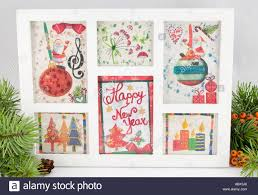 New Year Decoration Paper by Decoupage New Year Decorations Made Of Paper In A Frame Stock