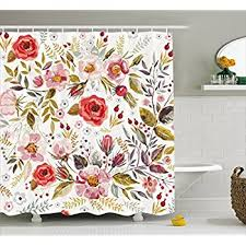 amazon com floral shower curtain by ambesonne vintage garden