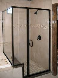 crystalline semi frameless rubbed bronze shower enclosure with
